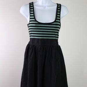 Anthropologie Kimchi Blue dress black green stripe
